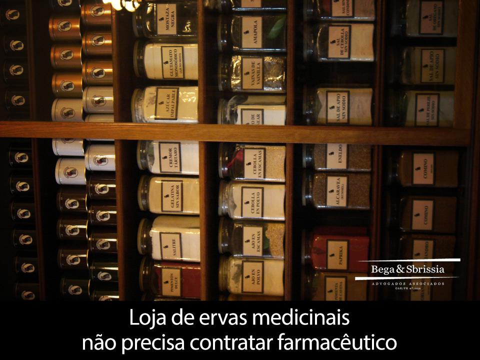 Loja de ervas medicinais não precisa contratar farmacêutico